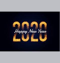 happy new year 2020 golden sparkles background vector image