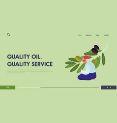 harvesting and natural oil production website vector image