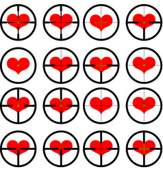 heart targeted at heart reticule viewfinder vector image