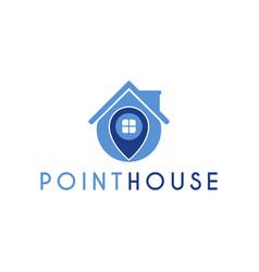 House locate pin logo design template vector