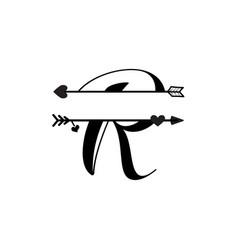 Initial r love monogram split letter isolated vector