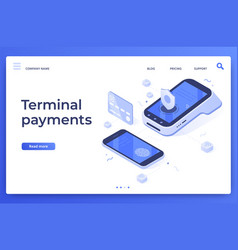 isometric pos terminal payments money transfers vector image