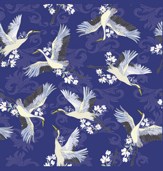 Japanese seamless pattern of birds and water vector