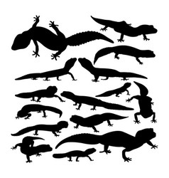 Leopard gecko animal silhouettes vector