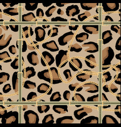 Leopard seamless pattern with golden chain vector