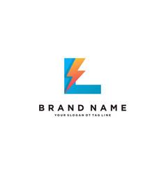 Letter l flash electrical logo design vector