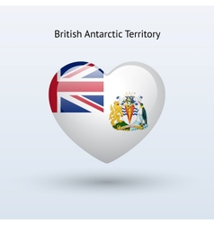 Love British Antarctic Territory symbol Heart flag vector image