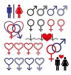 male and female symbol set logo vector image