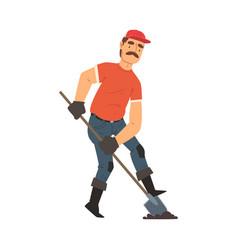 Man gardener digging with shovel male farmer vector