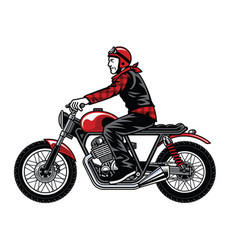 Man riding vintage custom motorcycle vector