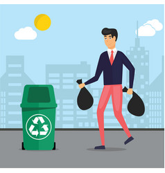 Man taking garbage trash out in recycle bins vector