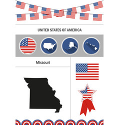 map of missouri set of flat design icons vector image