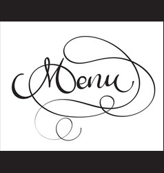 Menu word on white background hand drawn vector