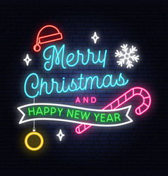 Merry christmas and happy new year neon sign with vector