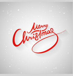 merry christmas letters red shadow snow vector image
