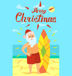 Merry christmas santa claus and surfing board vector