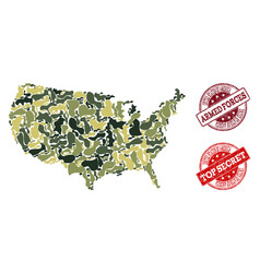 Military camouflage composition of map of usa and vector