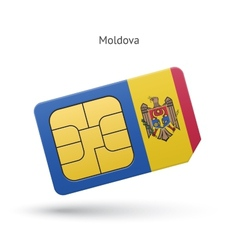 Moldova mobile phone sim card with flag vector