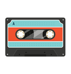 old styled plastic compact or audio cassette with vector image