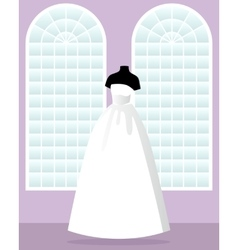Princess wedding dress on mannequin in saloon vector
