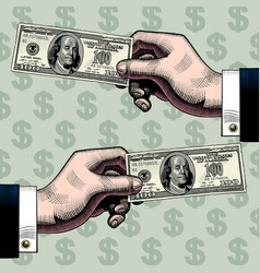 right and left hands with the 100 dollars bank vector image