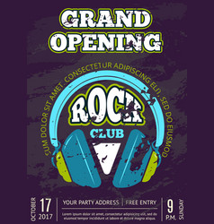 rock music club music shop with headphones vector image