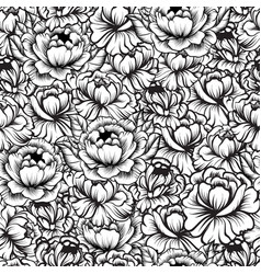 seamless pattern with drawings of peonies vector image