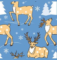 Seamless pattern with winter forest and cute deers vector