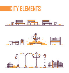 set city park elements - modern isolated vector image