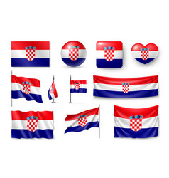 set croatia flags banners banners symbols vector image