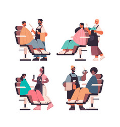 set mix race hairdressers making hair style to vector image