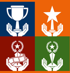 set of hands holding differents trophies color vector image