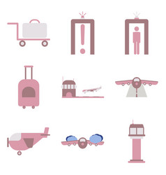 set of icons in flat design for airport on a white vector image