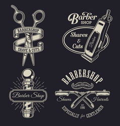set of vintage barbershop emblems vector image