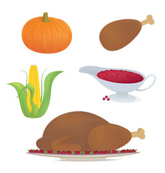 Set thankgiving traditional food 19 -04 vector