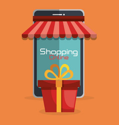 Shopping online with smartphone vector