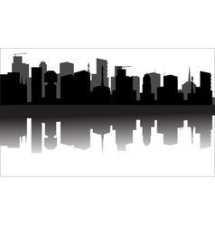 Silhouette of the city from the river vector image