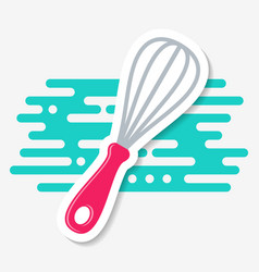 Simple kitchen whisk icon label vector