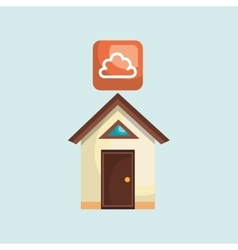 Smart home with cloud isolated icon design vector