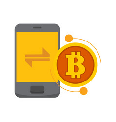 smart transfer bitcoin mobile phone graphic vector image
