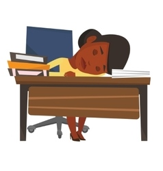 Student sleeping at the desk with book vector