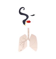 Stylized woman smoking a cigarette and her lungs vector