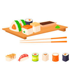 sushi rolls food and japanese gourmet vector image