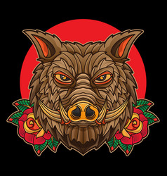 traditional boar tattoo vector image