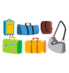 travel bag set classic retro modern vector image