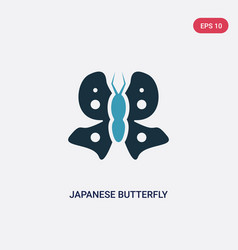 two color japanese butterfly icon from animals vector image
