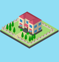 two-storey house isometrically with a fence vector image