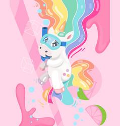unicorn dive lemonade vector image