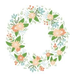 Vintage floral wreath frame vector image