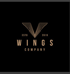 vintage letter v wing logo icon template vector image